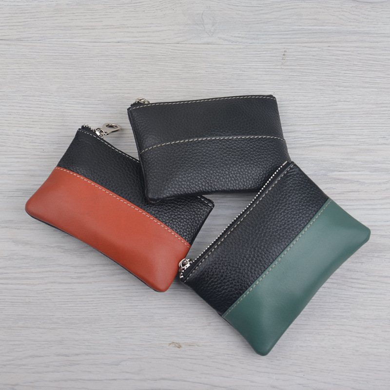 Contrast Color Cowhide Men's Women's Mini Purse Genuine Leather Short Small Wallet Zipper Coin Bag Can Be Used For Gift