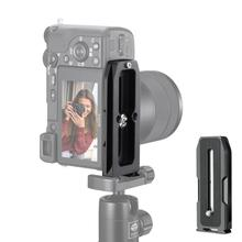 Evrensel kamera Quick Release plaka desteği yatay ve dikey çekim için 1/4 vida LED video işığı mikrofon