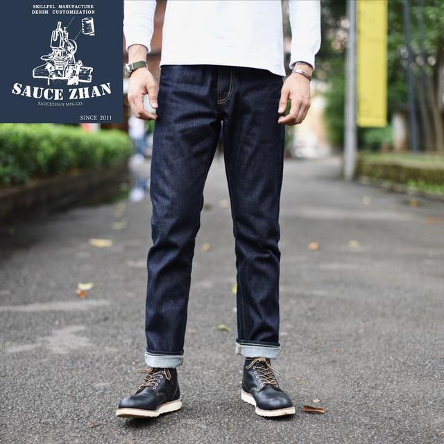 Saucezhan 310xx hs calças de brim masculinas de ajuste fino calças de brim selvedge jeans denim cru indigo jeans masculino frete grátis