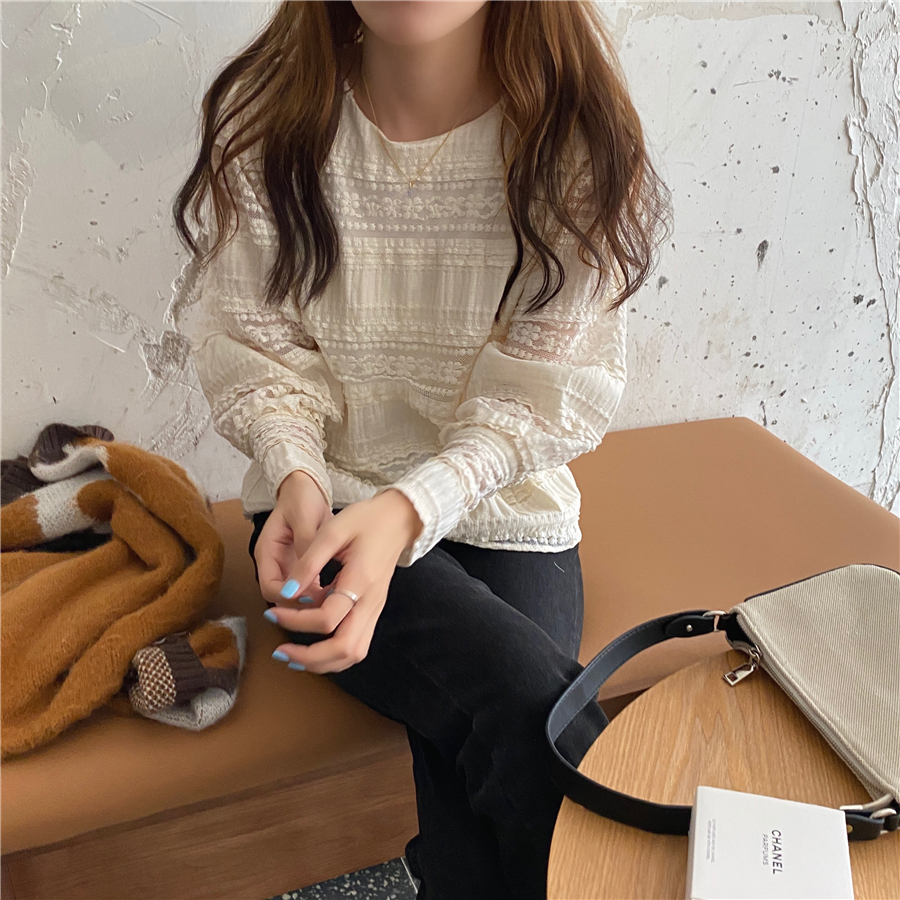 H2452b54c168b4c2fbf08a0782ca0589cJ - Spring / Autumn Korean O-Neck Long Sleeves Solid Lace Blouse