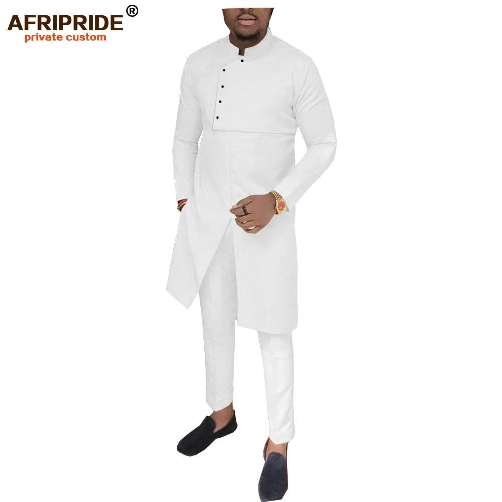 2019 African Men Clothing 2 Piece Set Dashiki Coats Jacket+ Ankara Pants Suit Tribal Tracksuit Pocket Wax AFRIPRIDE A1916035