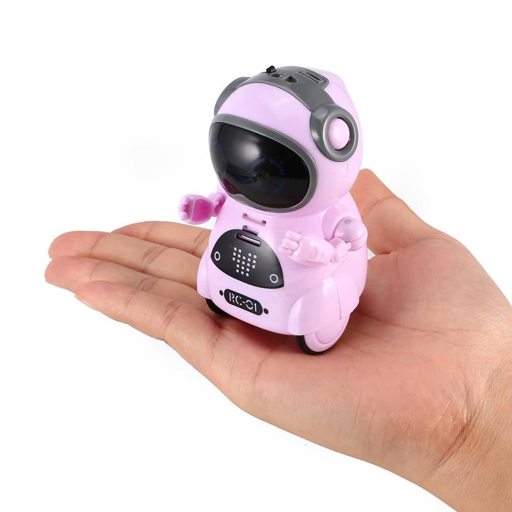 939A Mini Pocket Robot Talking Interactive Dialogue Voice Recognition Record Singing Dancing Telling Story Mini RC Robot Toys Bi image