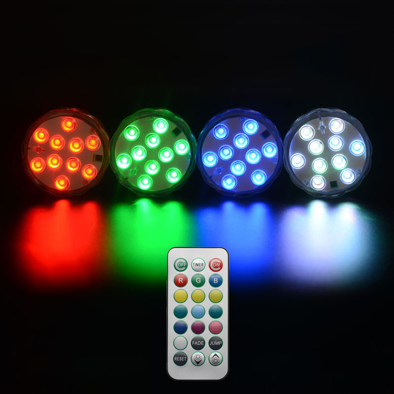 4PSC Multi-color Remote Controlled IP68 Waterproof LED Work Light Ourdoor Multifunctional Time Rotating Diving Lights Novelty