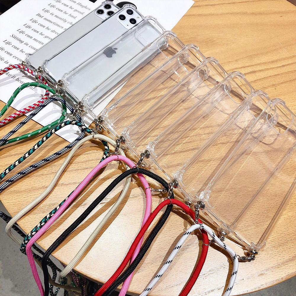 Transparent Soft TPU Phone Case For iphone 5 5S SE 6 6s 7 8 Plus X XS 11 Pro MAX XR 2020 With Lanyard Neck Strap Rope Cord Case