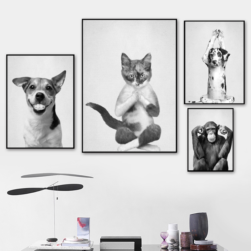 Nordic poster dancing Yoga cat dog monkey wall art and printing living room home decoration wall pictures image