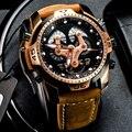 Мужские наручные часы Reef Tiger/RT  автоматические наручные часы цвета розового золота с коричневым кожаным ремешком  RGA3503