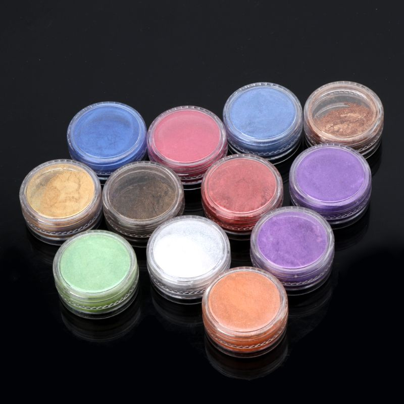 12 Box Slime Dye Powder Mica Pearl Pigment Colorants Soap Candle Resin Jewelry 50PB
