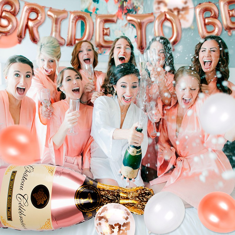 Bachelorette Party She Said Yes Balloon Bridal Shower Balloons Brunch and Bubbly Rose Gold Shower Clear Latex Balloon