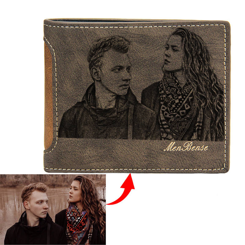 Picture Wallet Casual Simple Short Bifold PU Leather Frosted Multi-Card DIY Customized Engraving Photo Wallet Purses For Men