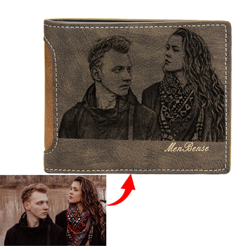 Picture Wallet Casual Simple Short Bifold PU Leather Frosted Multi-Card DIY Customized Engraving Photo Purses For Men
