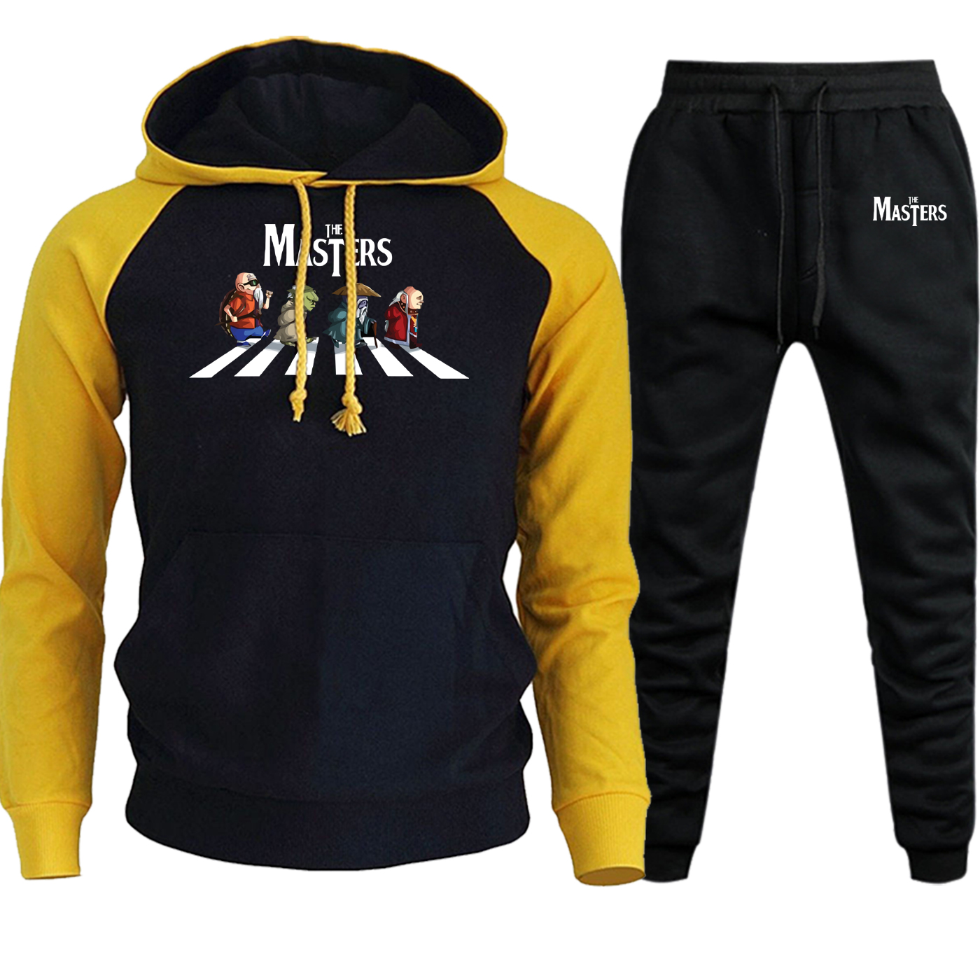 Streetweat Men Raglan Hoodie Autumn Winter 2019 New Master Roshi Dragon Ball Cartoon Hooded Suit Male Pullover+Pants 2 Piece Set