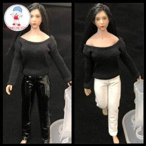 Image 1 - Масштаб 1/12, женские кожаные черные колготки, брюки для 6 дюймовых экшн фигурок TBLeague