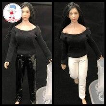 1/12 échelle femme cuir noir collants pantalons pour 6 pouces TBLeague figurines daction