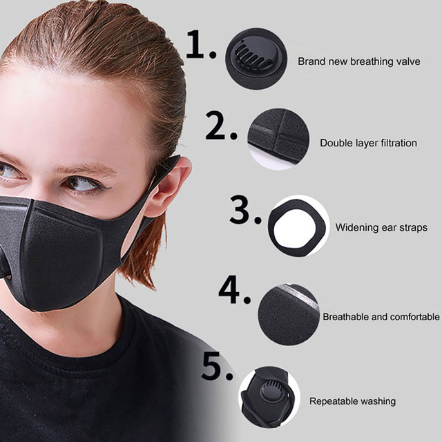 Protective mask Reusable PM2.5 Anti Bacteria Haze Dustproof Protective Face Mask Mouth Cover Anti Flu 2