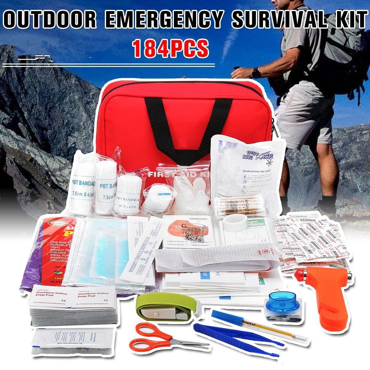 184 шт. портативная аптечка для лекарств, походов на открытом воздухе, походов, медицинская сумка, сумка для выживания, Аварийные наборы, доро...