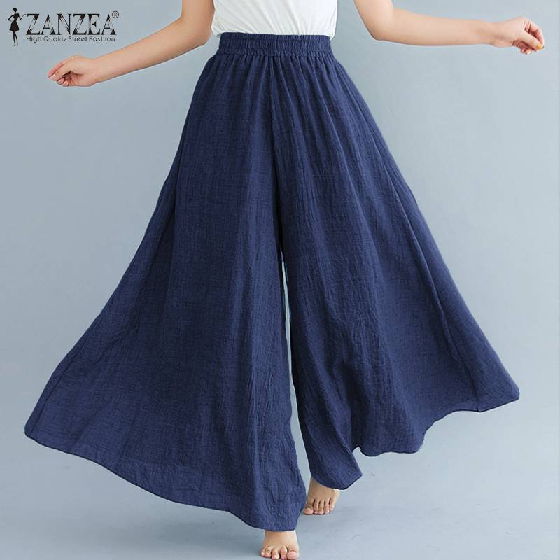 2020 Fashion ZANZEA Women Wide Leg Pants Elegant Solid Elastic High Waist Trousers Female Casual Loose Long Pantalon Streetwear