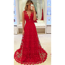 hirigin Elegant Women Deep V-neck Floral Lace Hollow Out Long Maxi Dress Evening Formal Party Prom Ball Gown Red Vestido(China)