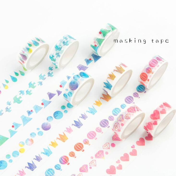 2020 Sharkbang Kawaii Heart Shape Traceless Washi Masking Adhesive Tape Scrapbooking Bullet Decorative Sticker School Stationery