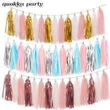15sheet Tissue Paper Tassels Garland Ribbon Curtain Hanging Banners Wedding Baby Shower Party Decoration Craft Supplies