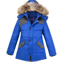 -30 Degree 2019 Kids Thick Warm Duck Down Jackets Coat Winter Boy Clothes Children Parka Real Fur Long Hooded Outerwear(China)