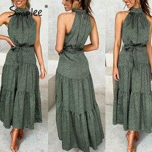 Image 2 - Simplee Sexy licou cou sans manches robe Vintage vert longue maxi vacances robe printemps été fête ceinture élégant 2020 vestidos