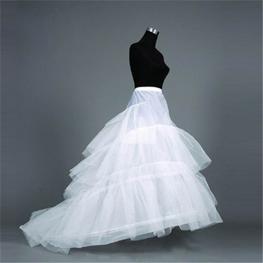 2020 Woman Wedding Dress Crinoline Waist Size Adjust Bridal Petticoat Underskirt 2 Hoops with Chapel Train Wedding Accessories
