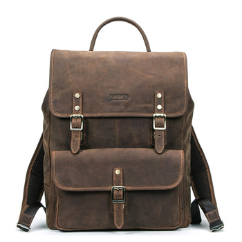 Men's Backpack Women Business Laptop Back Pack for Teenagers Boys Crazy Horse Genuine Leather Casual School Travel Large Bagpack p kuone brand men genuine cow leather backpack large bagpack male business back pack travel rucksack school backpack bag black