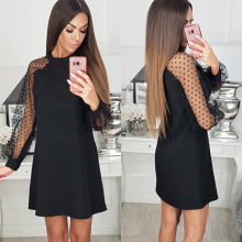 2019 Sexy Women Dress Black Round Neck Mesh Patchwork  Long Sleeve Women Dress A-line Dress Fall Clothing stylish round neck long sleeve voile spliced a line women s dress