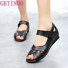 GKTINOO 2021 Genuine Leather Women Flat Sandals Hook Loop Gladiator Summer Shoes Solid Color Peep Toe Low Heel Sandals For Women