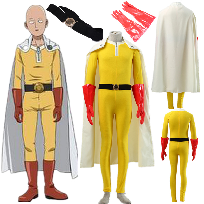 Anime un poinçon homme Caped Baldy Saitama uniforme de combat Anime Cosplay Costume Halloween
