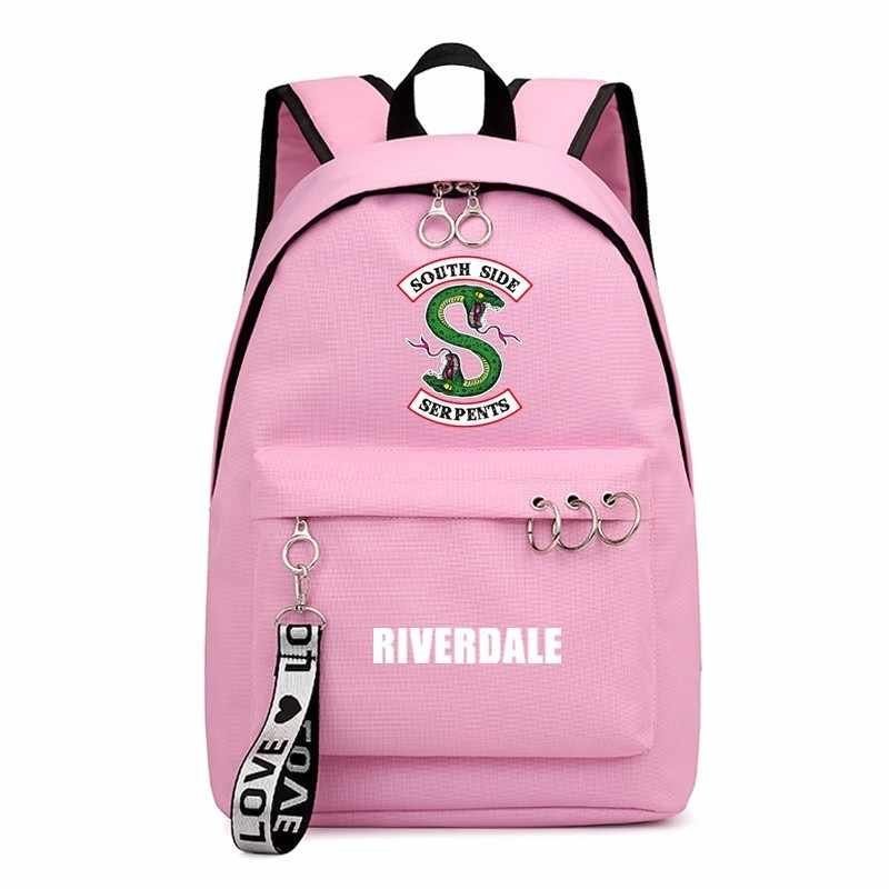 Fashion Sac A Dos Femme Black Pink Backpack Travel Backbag Mochila Riverdale 1-3 Design School Bags For Teenage Girls