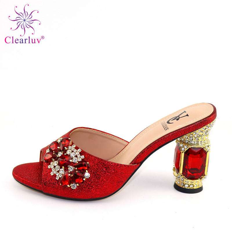 2019 Newest Africa High Heels Slipper Shoes Italian Desgin Rhinestone Summer Woman Shoes 6Color Factory Wholesale Price