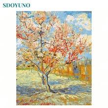 Sdoyuno 60 × 75 センチメートル数字によるdiyの油絵桃の花フレームレス番号キャンバス景観ホーム装飾