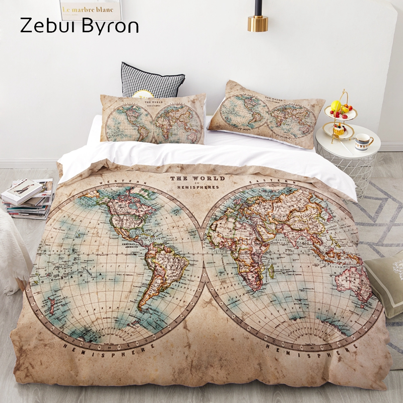Luxury Bedding Set King/Europe/Queen/Custom,3D Duvet Cover Set,Quilt/Blanket Cover Set,Bedclothes,World Map Bed Set