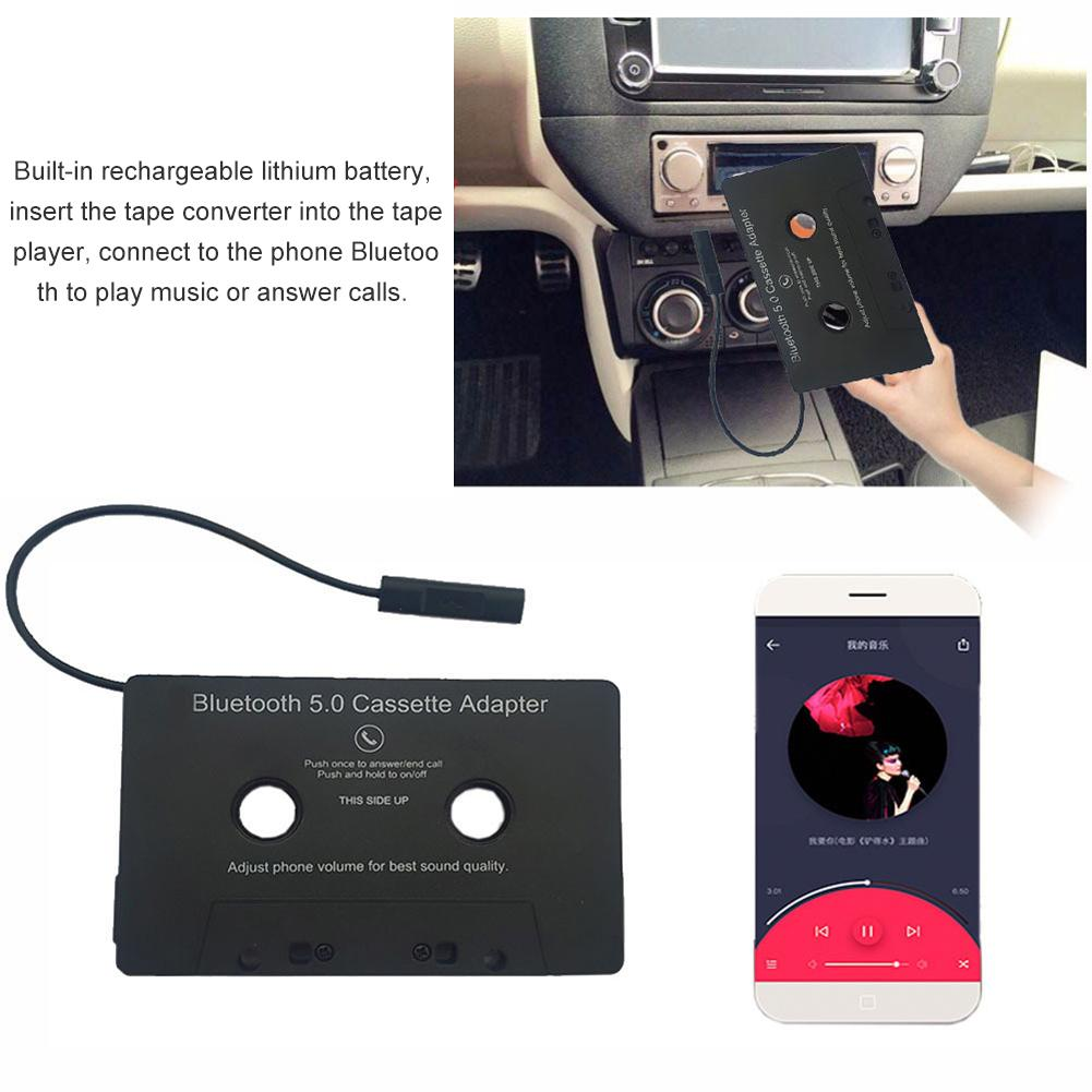 Universal Car Bluetooth Audio Cassette To Aux Adapter For Smartphones Cassette Adapter For Car Built-in Battery