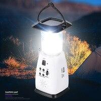 다기능 전원 태양 크랭크 led 빛 휴대용 야외 캠핑 텐트 램프 am/fm 라디오|야외 공구|스포츠 & 엔터테인먼트 -