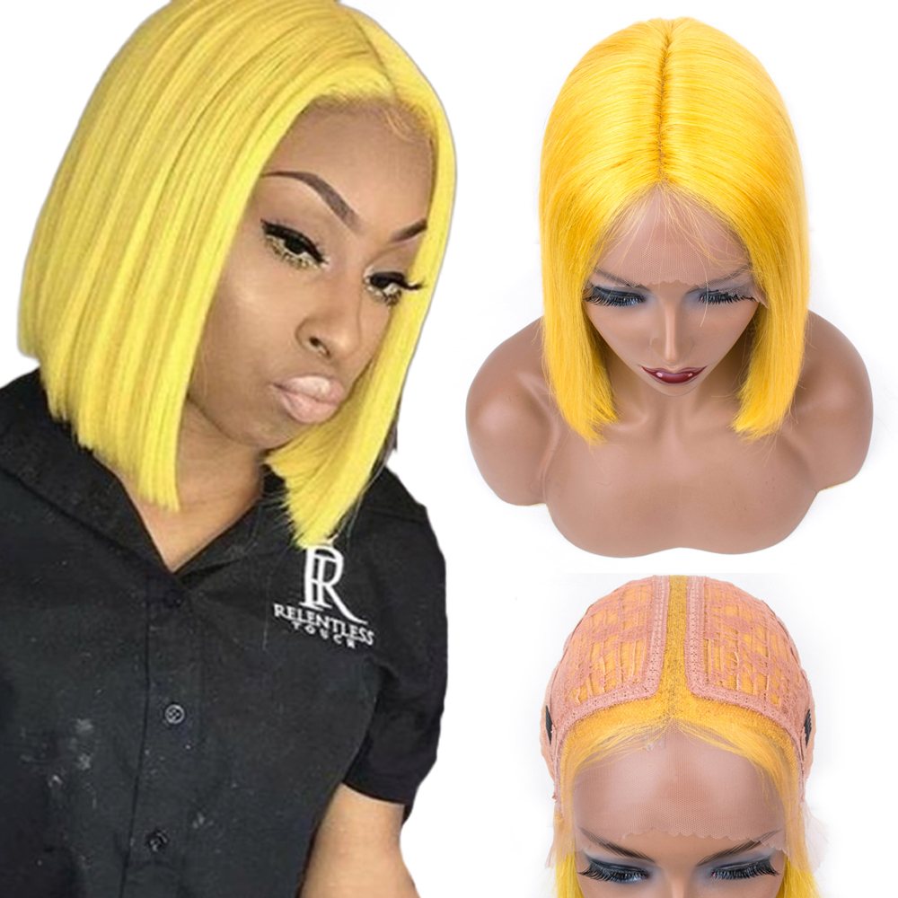 Pre Colored Human Hair Wigs Bob Lace Front Wigs T-Shape Deep Part Short Human Hair Wigs For Women Brazilian Remy Hair 12 Inch