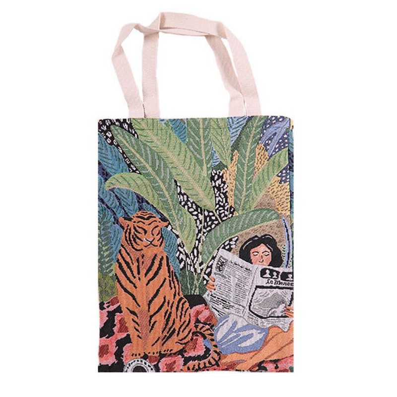New Reusable Shopping Bag Jacquard Canvas Shopping Bag Large Folding Tote Unisex Jacquard Tiger and Reading Girl Canvas Tote Bag