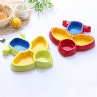 Baby Solid Feeding Kids Plate Plastic Children Divided Dinner Dish Lovely Cartoon Plane Style Baby Food 4 Section Table Tray