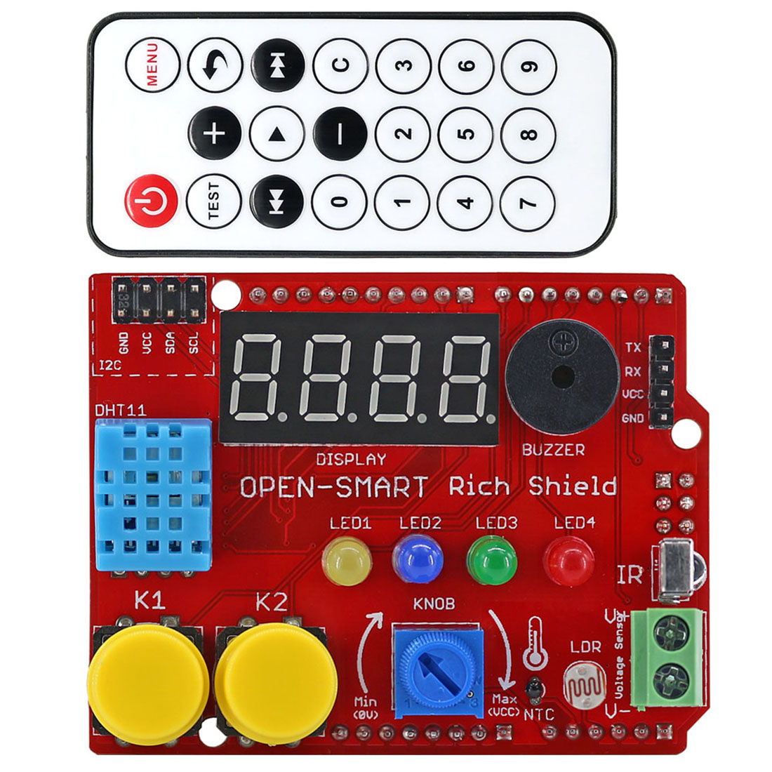Rich Shield + IR Remote With Infrared Receiver/LED/Buzzer/Button/Light Sensor/Temperature Sensor For Arduino