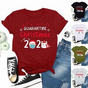 Plus Size Christmas T Shirt Women 2020 Fashion Quarantine Printed Women Christmas Clothes Tee T-shirt Top Camiseta Mujer
