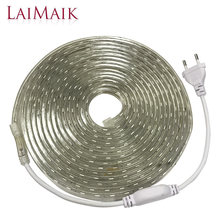Laimaik LED Strip Lampu Tahan Air RGB Strip Pita LED 5050 LED Tape 220 Flexible LED Strip 220 V 60 LED /M Pencahayaan dengan Uni Eropa Plug(China)