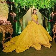 화려한 옐로우 볼 가운 웨딩 드레스 어깨 Appliques 레이스 새틴 신부 드레스 채플 기차 vestido de noiva