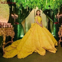 Gorgeous Yellow Ball Gown Wedding Dresses Off The Shoulder Appliques Lace Satin Bridal Dress Chapel Train vestido de noiva