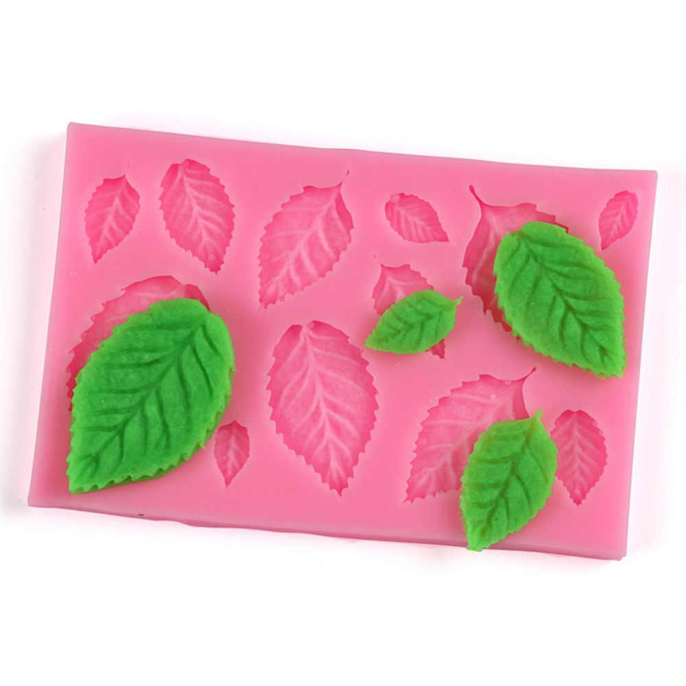 葉形のシリコーンプレス金型葉ケーキデコレーションフォンダンクッキーツール 3D 食品グレードのシリコーン金型 Gumpaste キャンディツール