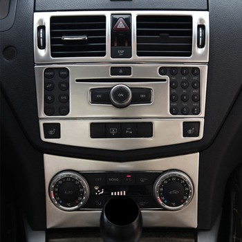 Car Center Console Air Conditioning Outlet CD Frame Decoration Sticker Trim For Mercedes Benz C Class W204 2007-10 Accessories chrome car center console gear shift panel decorative strips water cup holder cover trim sticker for mercedes benz c class w204