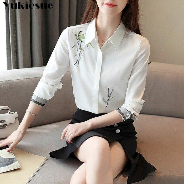 2020 Autumn New Fashion Women Blouse Embroidery White Shirt Long Sleeve Casual Tops Loose Shirt Blusas Feminina Plus size 5
