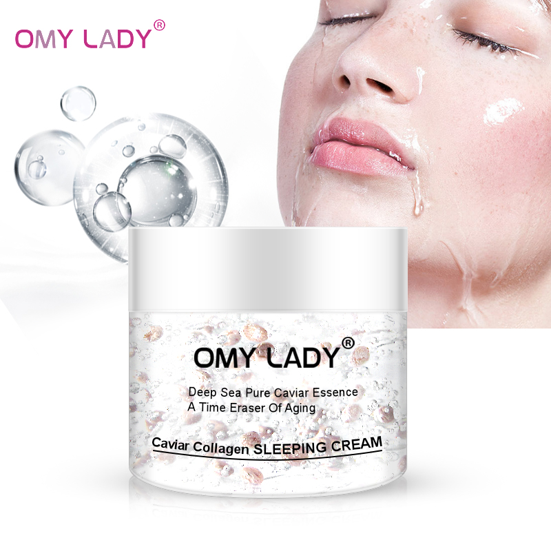 OMYLADY Caviar Collagen Sleep Cream Anti-Wrinkle Anti-Aging Facial Cream Hyaluronic Acid Moisturizing Smoothing Skin Night Cream