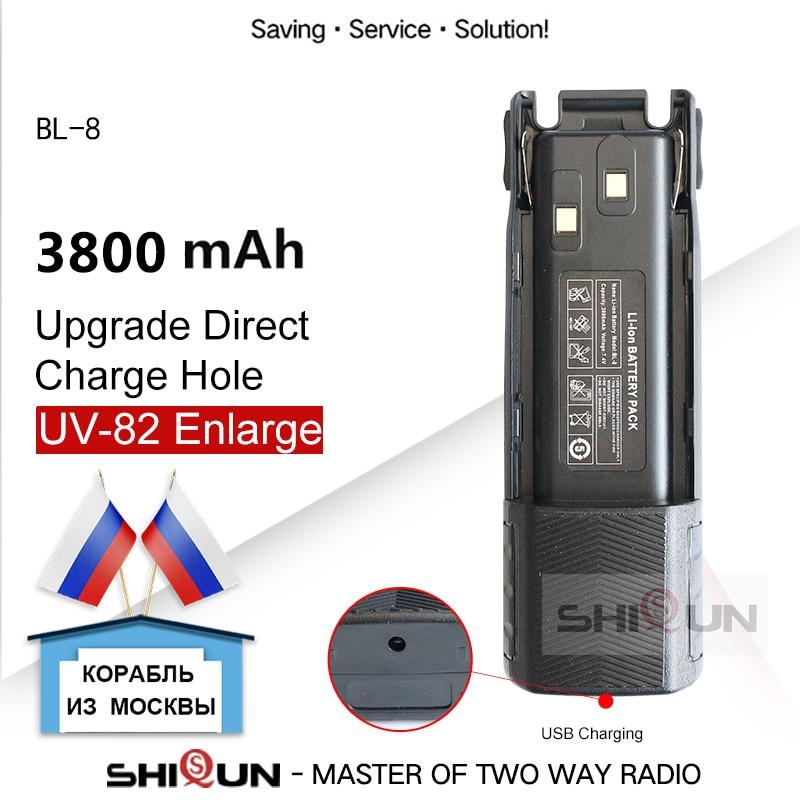 BL-8 Baofeng UV-82 Батарея 3800 мАч Расширенный Батарея для UV-82HP UV82 плюс UV-8D UV-82WX UV-89 UV 82 Батарея Прямая зарядка с помощью разъема отверстие