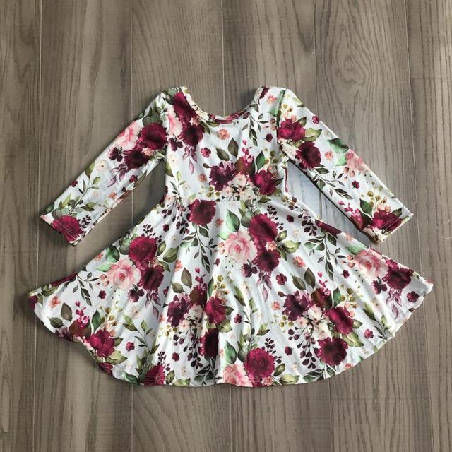 Girlymax Christmas Fall/winter Baby Girls Cotton Chlidren Clothes Milk Silk Twirl Dress Knee Length Plaid Leopard Wine Floral 4